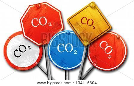 CO2 warning sign, 3D rendering, rough street sign collection