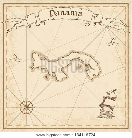 Panama Old Treasure Map. Sepia Engraved Template Of Pirate Map. Stylized Pirate Map On Vintage Paper