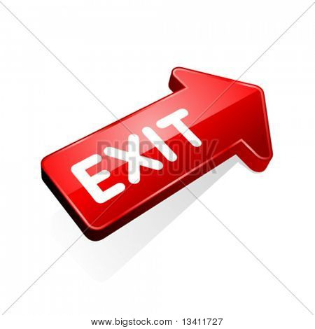 3d glossy arrow with exit message