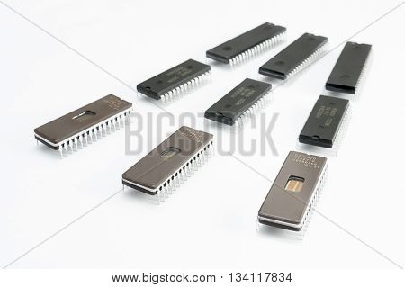 Chip Rows On White Background