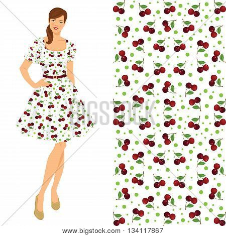 Vector illustration of young brunette girl in elegant dress isolated on white background. Fifties style of clothes. Pattern with cherry.