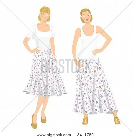 Vector illustration of young girls in clothes for summer holiday. Romantic maxi skirt with flower pattern
