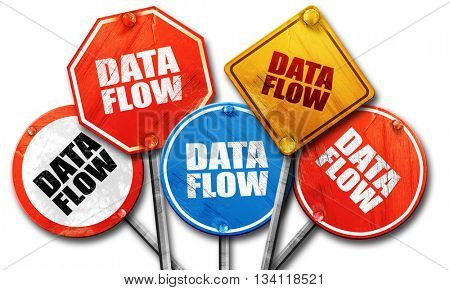 data flow, 3D rendering, rough street sign collection
