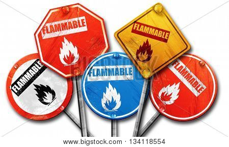 Flammable hazard sign, 3D rendering, rough street sign collectio