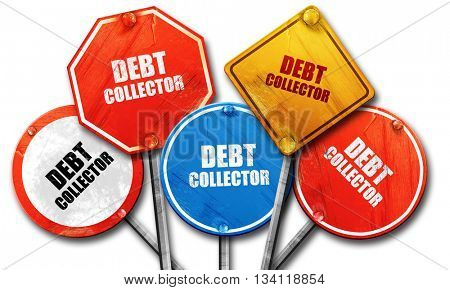 debt collector, 3D rendering, rough street sign collection