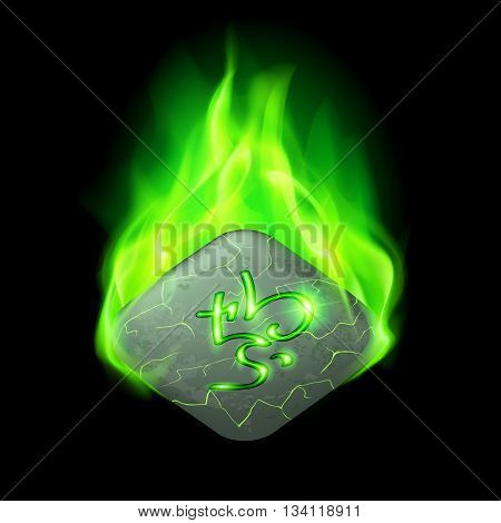 Ancient quadrangular stone with magic rune burning in green flame