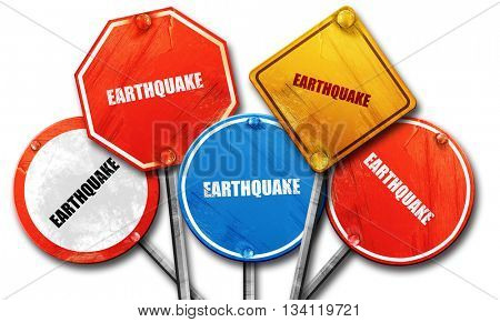 earthquake, 3D rendering, rough street sign collection