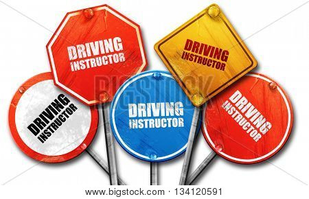 driving instructor, 3D rendering, rough street sign collection