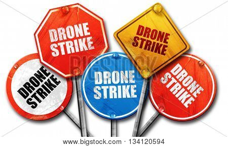 drone strike, 3D rendering, rough street sign collection