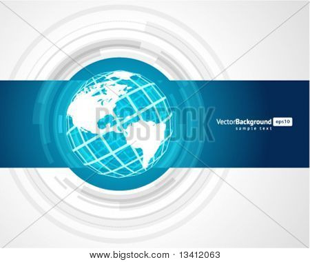 Abstract technology circles with wire globe vector background