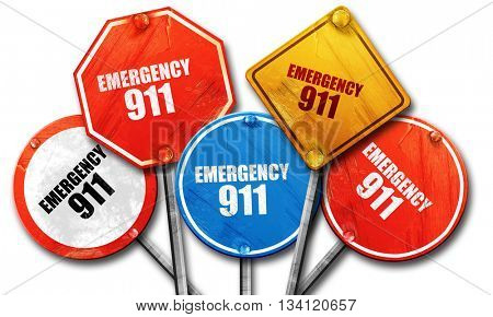 emergency 911, 3D rendering, rough street sign collection