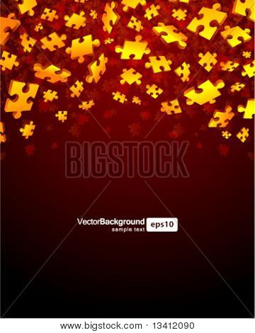 3d red puzzle piece vector background