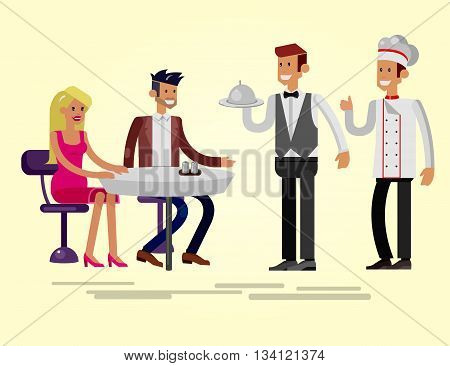 Vector detailed character people in the restaurant, canteen catering service for public and personnel,  waiter and Chef serves guests