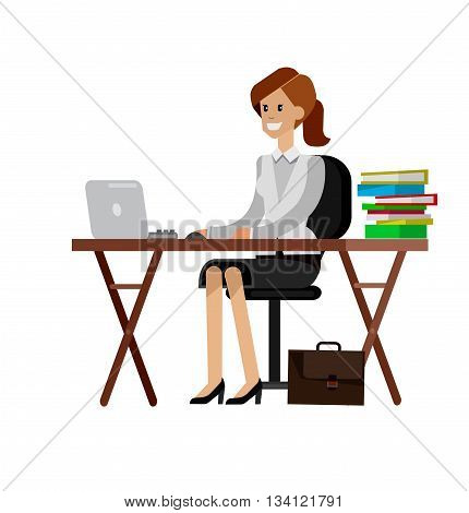 Woman teacher tutor at the desk.  Flat teacher, style vector teacher, teacher illustration