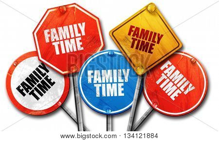family time, 3D rendering, rough street sign collection