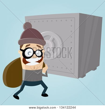 funny comic burglar with safe in the background