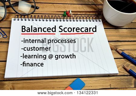 The words Balanced Scorecard on notebook page
