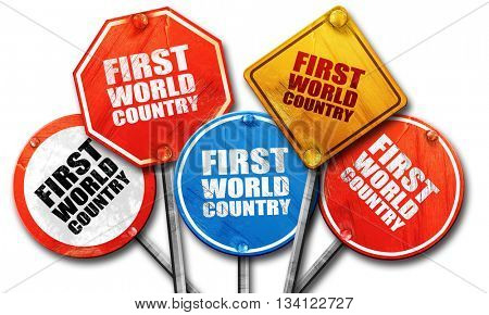 first world country, 3D rendering, rough street sign collection