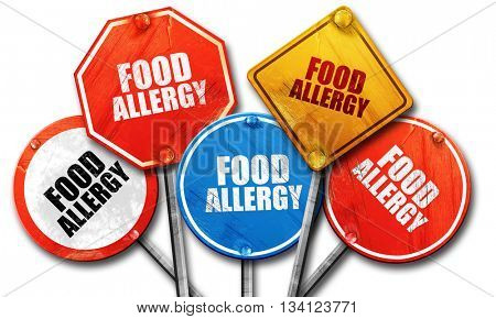 food allergy, 3D rendering, rough street sign collection