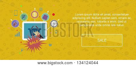 Sale and promotion. Web banner slider or vector flat background.