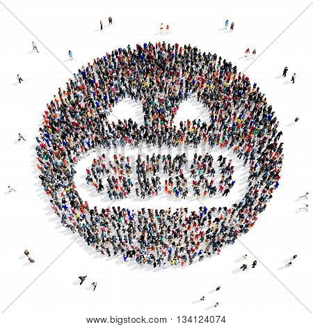 Large and creative group of people gathered together in the shape of a smug face. 3d illustration, isolated, white background.
