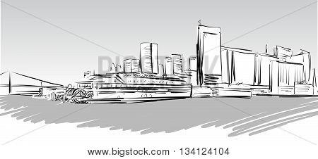 San Francisco Downtown Greyscale Sketch