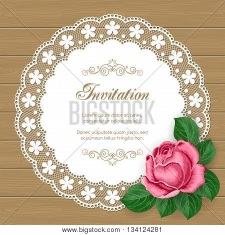 Vintage floral invitation template with hand drawn flowers and lace doily. Illustration in retro style. Vector.
