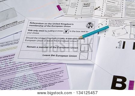 BASINGSTOKE UK - JUNE 13 2016: Postal ballot paper and envelopes for the UK Referendum on whether to remain in or leave the European Union.