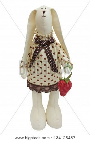 Bunny with strawberry - rabbit toy isolated on white