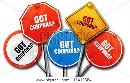 got coupons?, 3D rendering, rough street sign collection