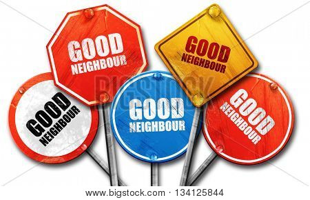 good neighbour, 3D rendering, rough street sign collection