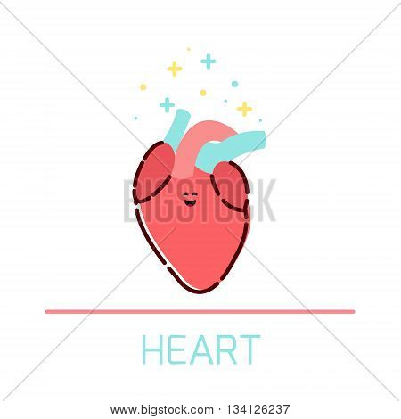 Cute healthy heart icon made in cartoon style. Heart cartoon character. Human body organs anatomy icon. Medical human internal organ symbol. Medical concept. Vector illustration.