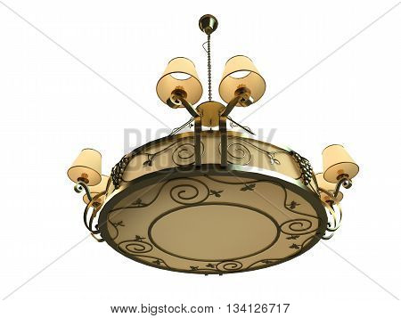 3D rendering chandelier isolated on white background