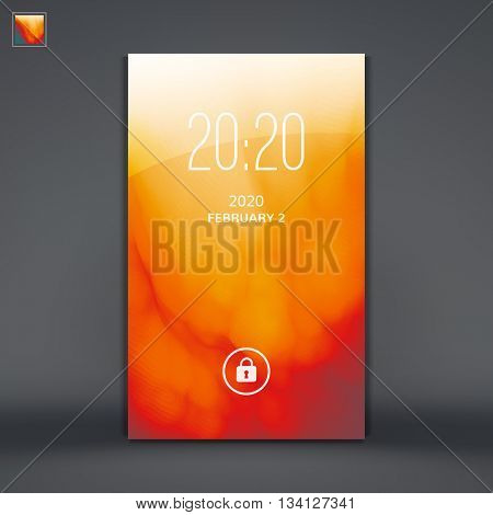 Modern Lock Screen for Mobile Apps. Vector Illustration.