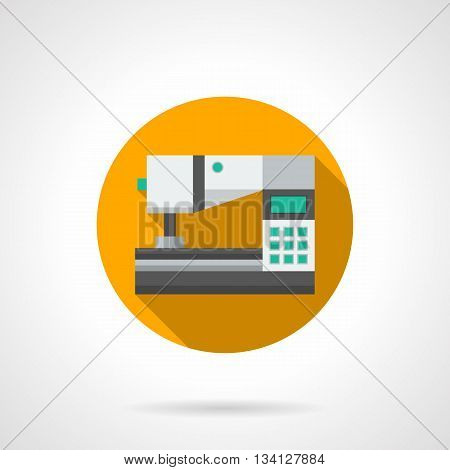 Professional sewing machine with computer control. Modern technology for tailoring and dressmaking. Round yellow flat color style vector icon.