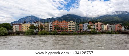 Colorful houses at the city of Innsbruck, Austria