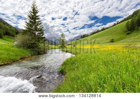 River in a valley of the Austrian Alps