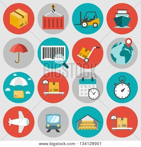 Logistic flat icons set. Concepts of delivery, shipping process, ecommerce and logistics