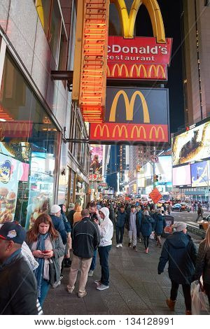 NEW YORK - CIRCA MARCH, 2016: McDonald's restaurant in New York. McDonald's is the world's largest chain of hamburger fast food restaurants, founded in the United States.