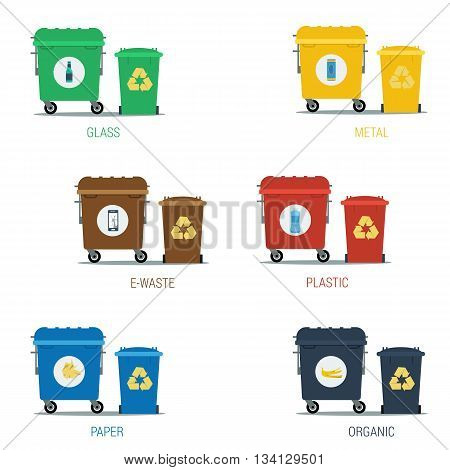 Vector flat set of various types garbage recycling. Can for organic metal paper e-waste and other. Colored and isolated on white background