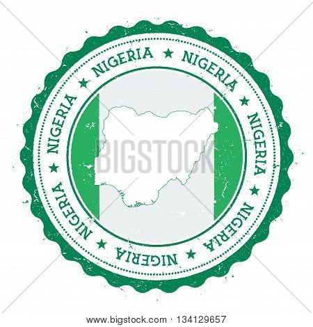 Nigeria Map And Flag In Vintage Rubber Stamp Of State Colours. Grungy Travel Stamp With Map And Flag