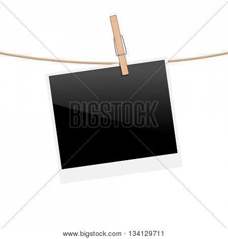 Illustration Polaroid Photo on Rope isolated on white background. Vector.