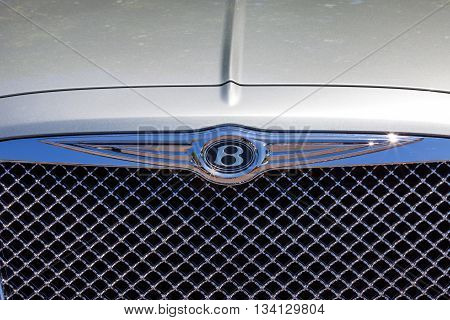 Tel Aviv, Israel, June 12, 2016: Bentley emblem and front grill. Bentley is a British  company that designs, develops, and manufactures Bentley luxury motorcars which are largely hand-built.