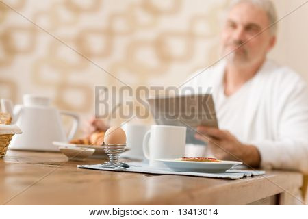 Senior Mature Man - Breakfast At Home