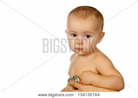 baby and doctor isolated on a white background