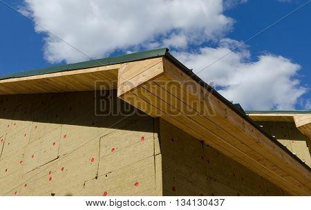 building roof and wall with Styrofoam Sheet Insulation of new house