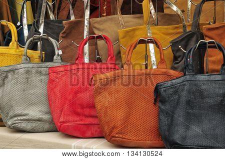 Aix en Provence France - april 21 2016 : bags at the cours Mirabeau market