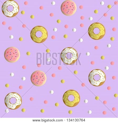 Seamless pattern with cookies in a pink glaze, donuts with cream and sprinkles and colorful round candy, on a lilac monochromatic background