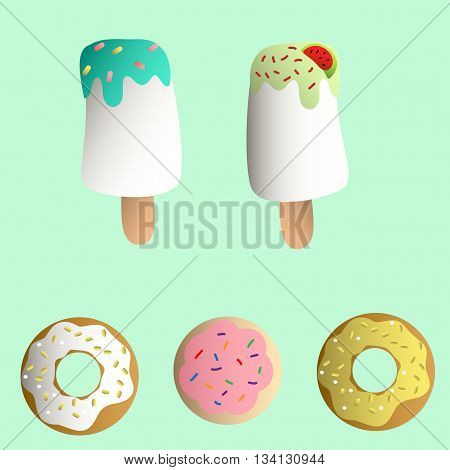 Drawing of a set with ice lolly, cookies in a pink glaze, donuts with cream and sprinkles on a light turquoise monochromatic background