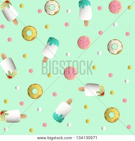 Seamless pattern with ice lolly, cookies in a pink glaze, donuts with cream and sprinkles and colorful round candy, on a light turquoise monochromatic background
